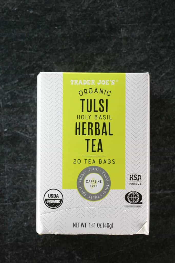 An unopened box of Trader Joe's Organic Tulsi Herbal Tea