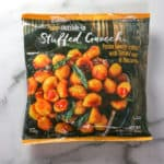 Trader Joe's Outside In Stuffed Gnocchi review pin for Pinterest