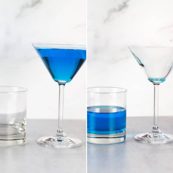 A quick visual guide to realize how little a martini glass really holds. Blue liquid is shown in a martini glass full which only fills a rocks glass half way.