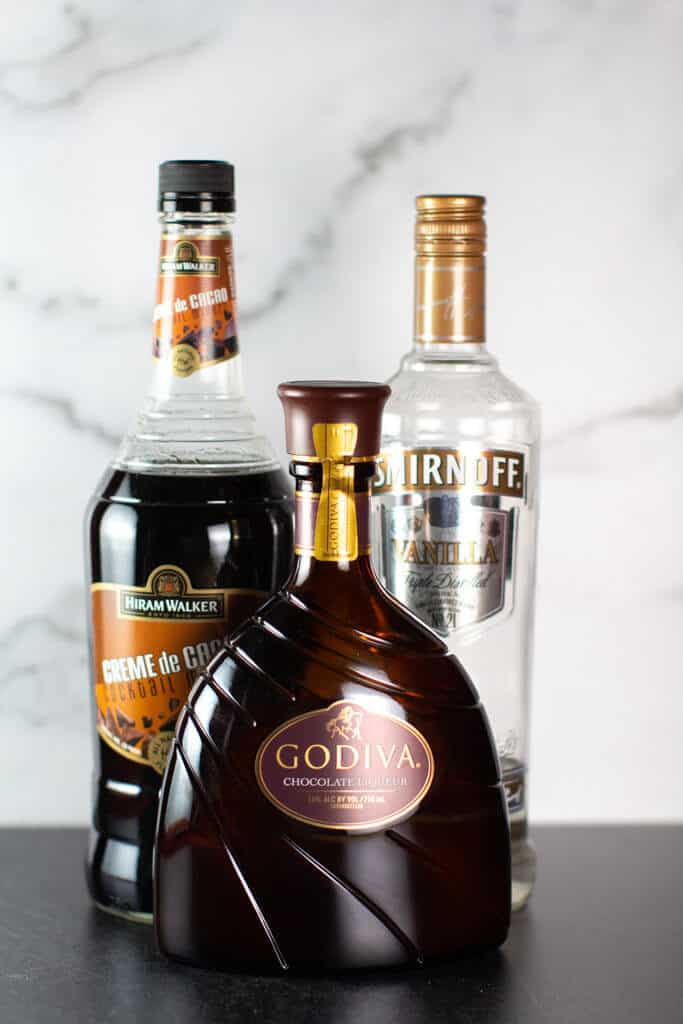 Ingredients in my Chocolate Martini: Godiva Liqueur, Vanilla Vodka, and Creme de Cocoa