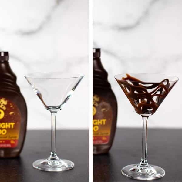 Step 1 of Making a Chocolate Martini Adding Chocolate to the glass as decoration