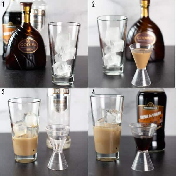 Step 2 showing the ice, chocolate liqueur, vanilla vodka, and creme de cocoa going into a shaker