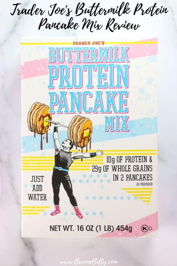 Trader Joe's Buttermilk Protein Pancake Mix Review image for Pinterest