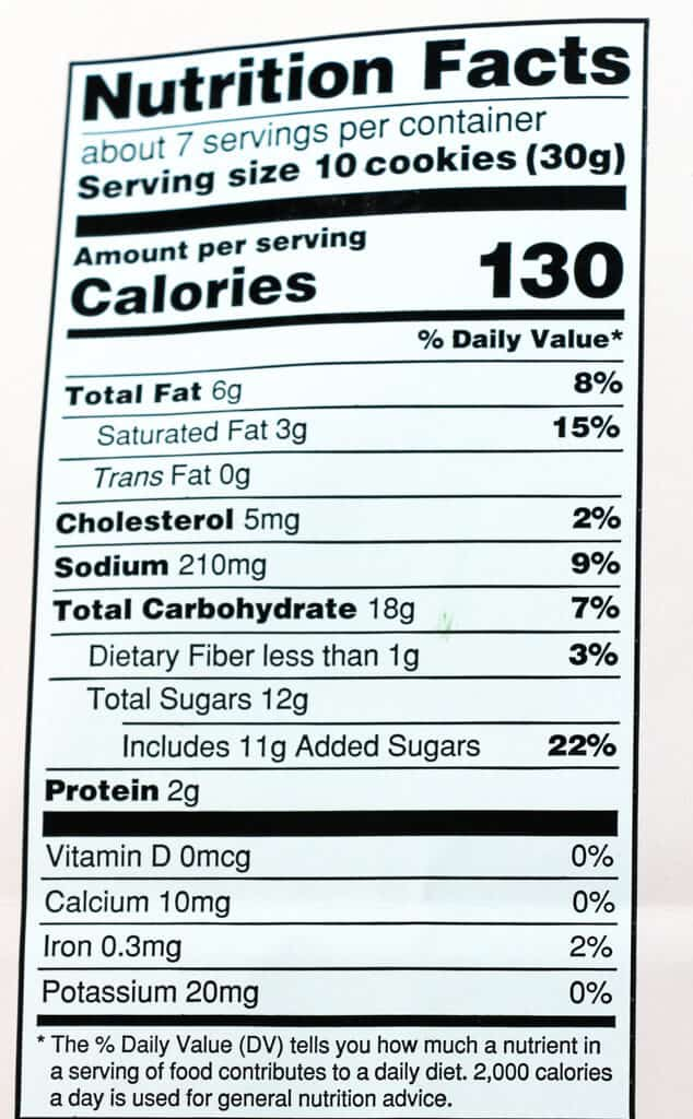 Calories and nutritional facts inTrader Joe's Georgia Pecan Butterscotch Chip Cookies
