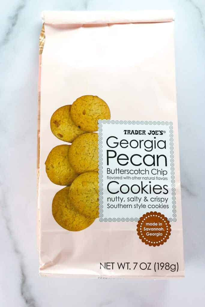 A bag of Trader Joe's Georgia Pecan Butterscotch Chip Cookies