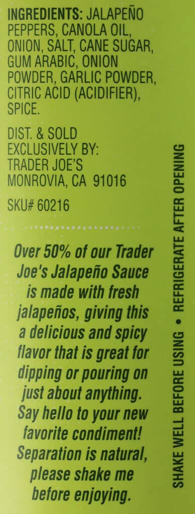 Ingredients and product description for Trader Joe's Jalapeno Sauce