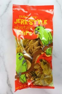An unopen bag of Trader Joe's Jerk Style Plantain Chips