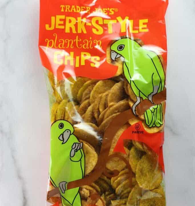 An unopen bag of Trader Joe's Jerk Style Plantain Chips