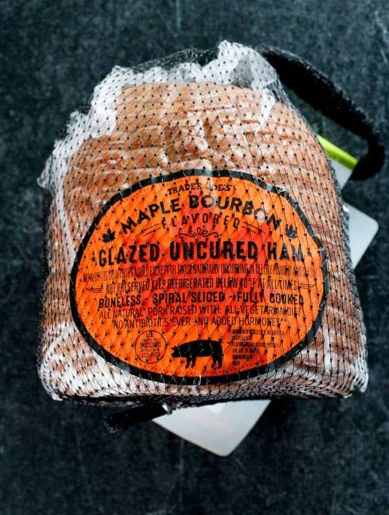An unopened Trader Joe's Maple Bourbon Glazed Ham