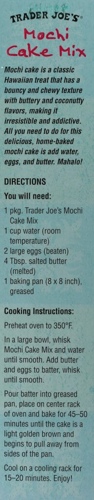 Directions for Trader Joe's Mochi Cake Mix