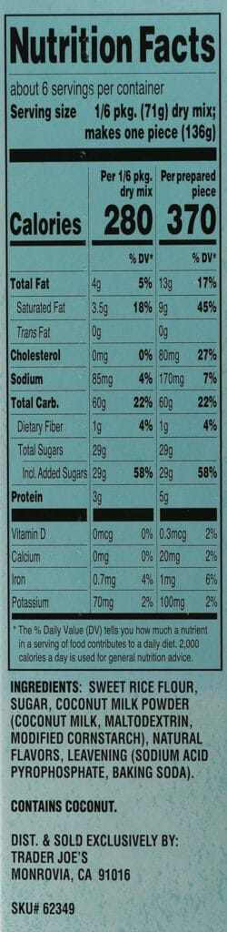 Calories, nutritional facts, and ingredients in Trader Joe's Mochi Cake Mix