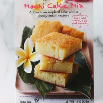 An unopened box of Trader Joe's Mochi Cake Mix