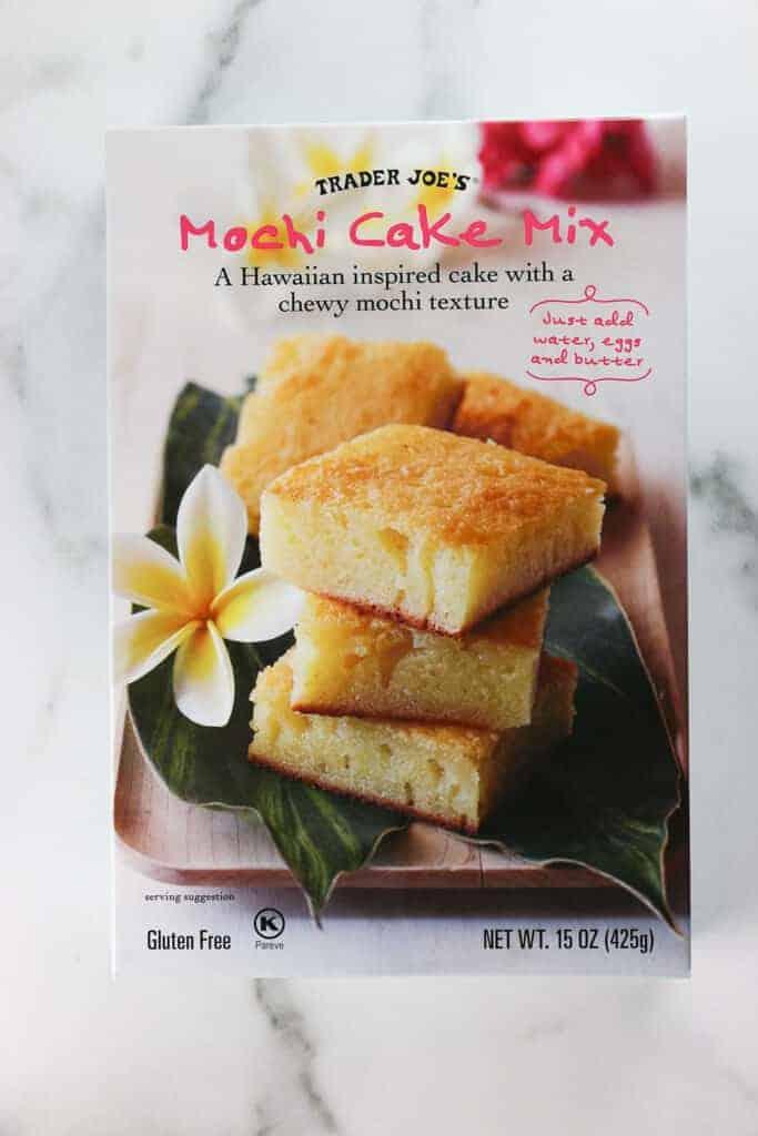 An unopened box of Trader Joe's Mochi Cake Mix