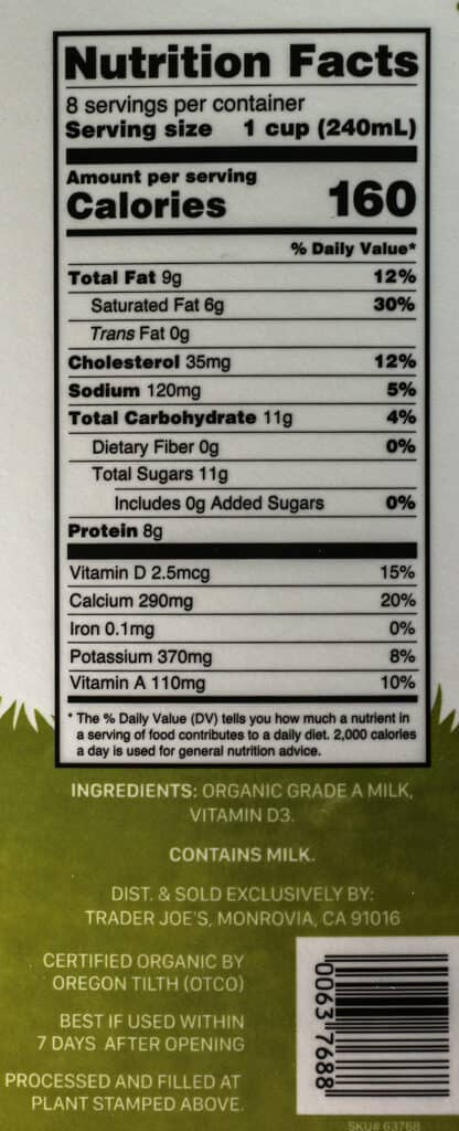 Calories, nutritional information and ingredients in Trader Joe's Organic Milk from Grass Fed Cows