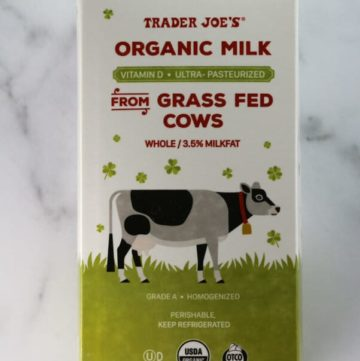 An unopened container of Trader Joe's Organic Milk from Grass Fed Cows