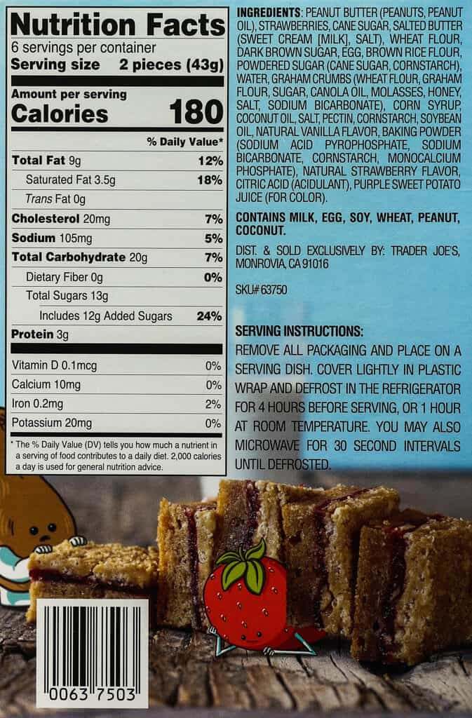 Calories, nutritional information, ingredients, and how to prepare directions for Trader Joe's Peanut Butter Blondies