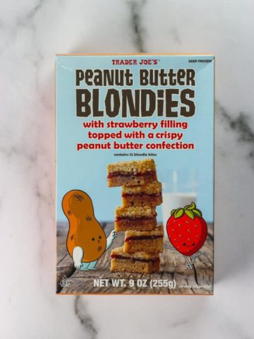 An unopened box of Trader Joe's Peanut Butter Blondies