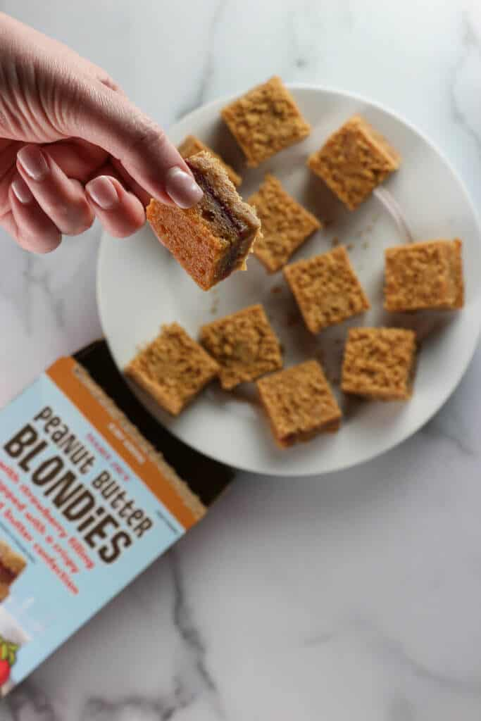A zoomed in look at one piece of Trader Joe's Peanut Butter Blondies