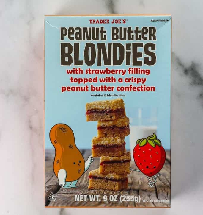 An unopened box of Trader Joe's Peanut Butter Blondies