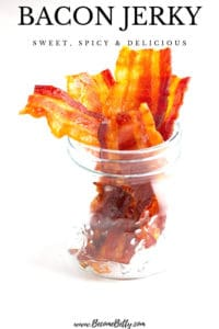 The words Bacon Jerky: sweet, spicy, and delicious text over the image of the finished product on a white surface