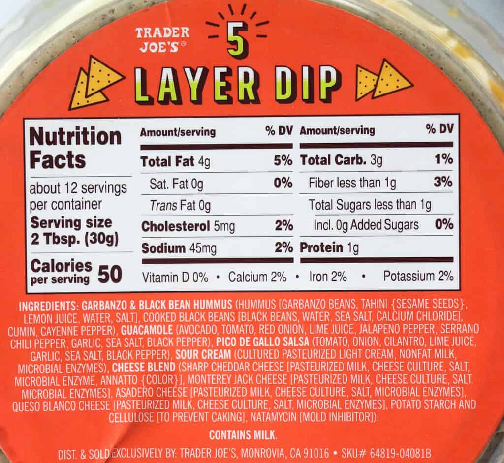 Trader Joe's 5 Layer Dip nutritional information, calories, and ingredient list as well as allergy information