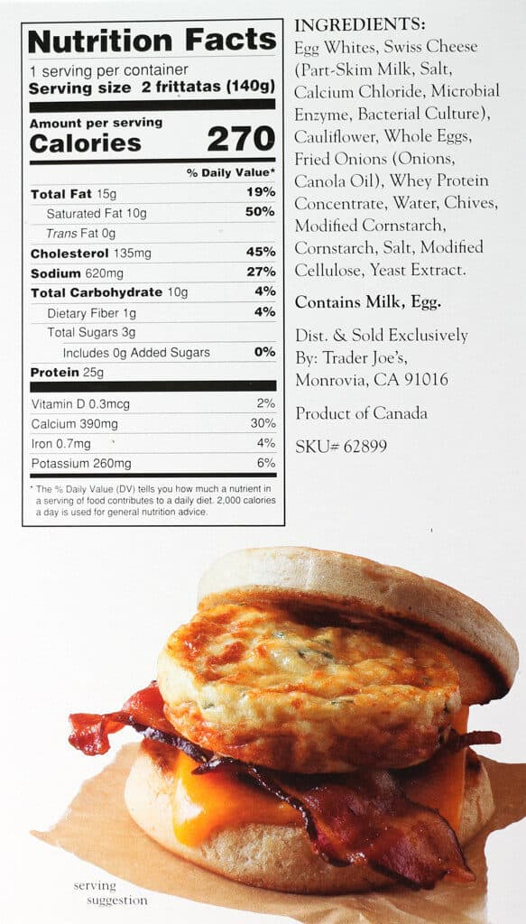 Nutritional information, calories, and allergy information for Trader Joe's Egg Frittata