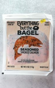 An unopened package of Trader Joe's Everything But the Bagel Seasoned Smoked Salmon