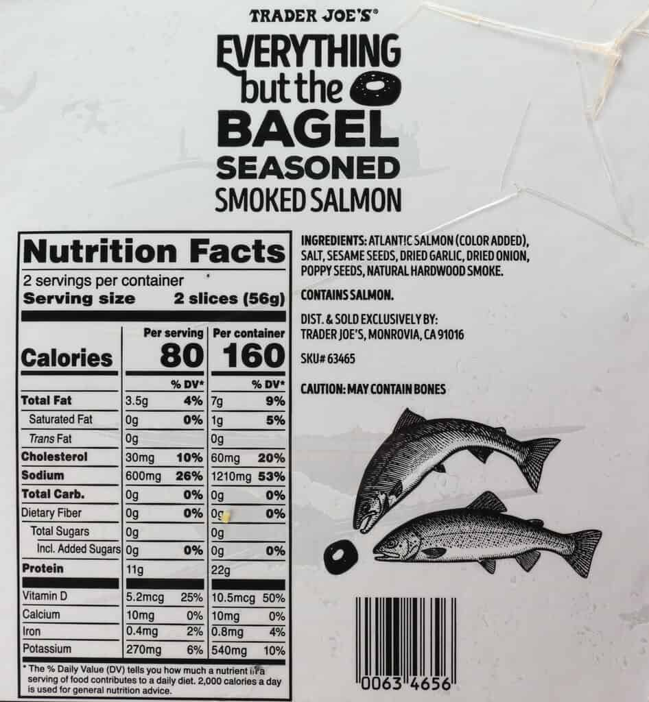 Nutritional information, calories, and ingredients in Trader Joe's Everything But the Bagel Seasoned Smoked Salmon