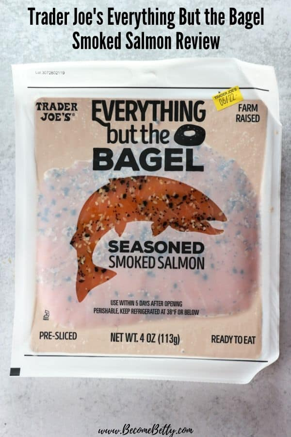 An unopened package of Trader Joe's Everything but the Bagel Smoked Salmon