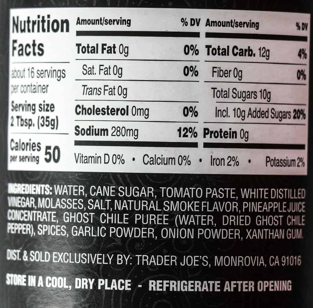 Nutritional information, calories, and ingredients in Trader Joe's Ghost Chile BBQ Sauce