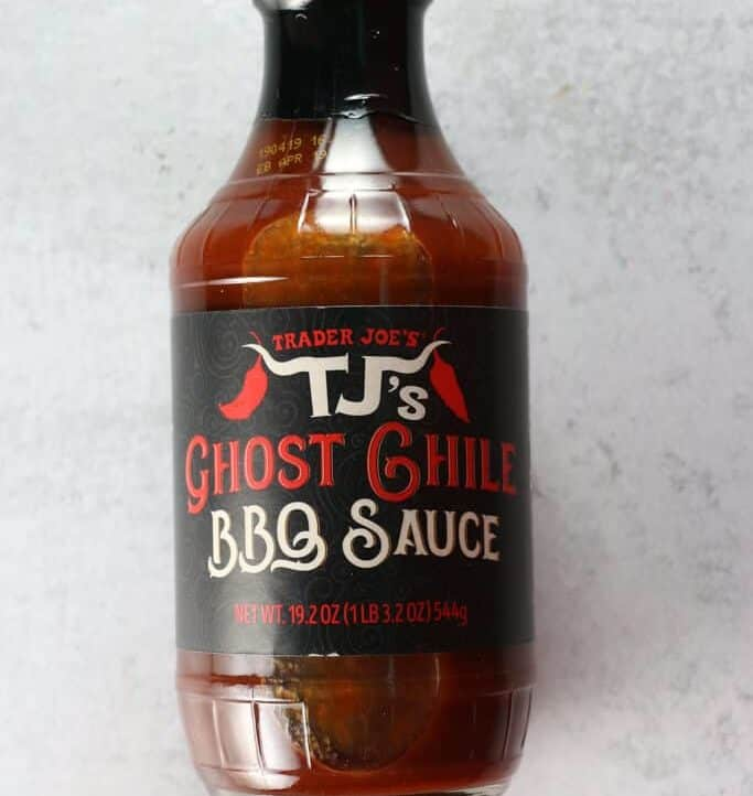 An unopened bottle of Trader Joe's Ghost Chile BBQ Sauce