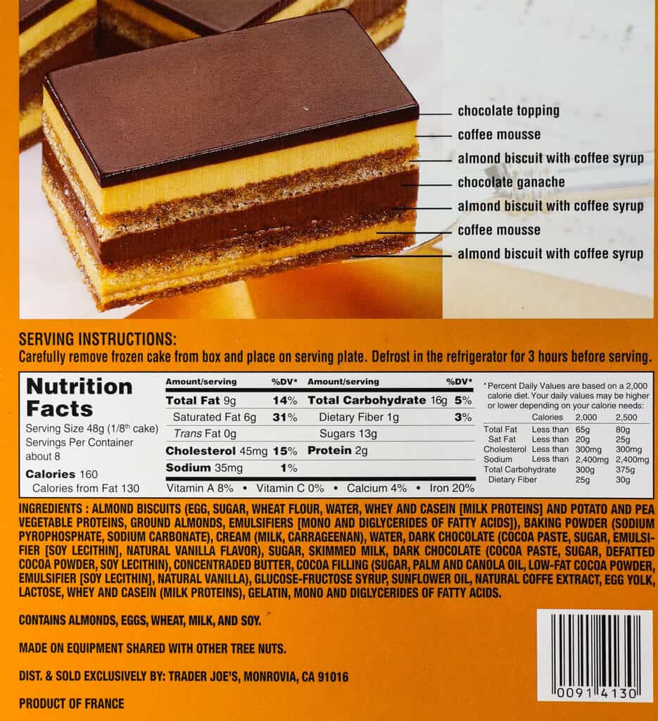 Calories, Nutritional information, thawing instructions, and ingredient list for Trader Joe's Opera Cake