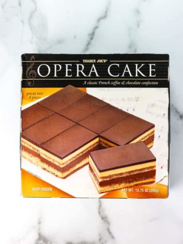 An unopened box of Trader Joe's Opera Cake
