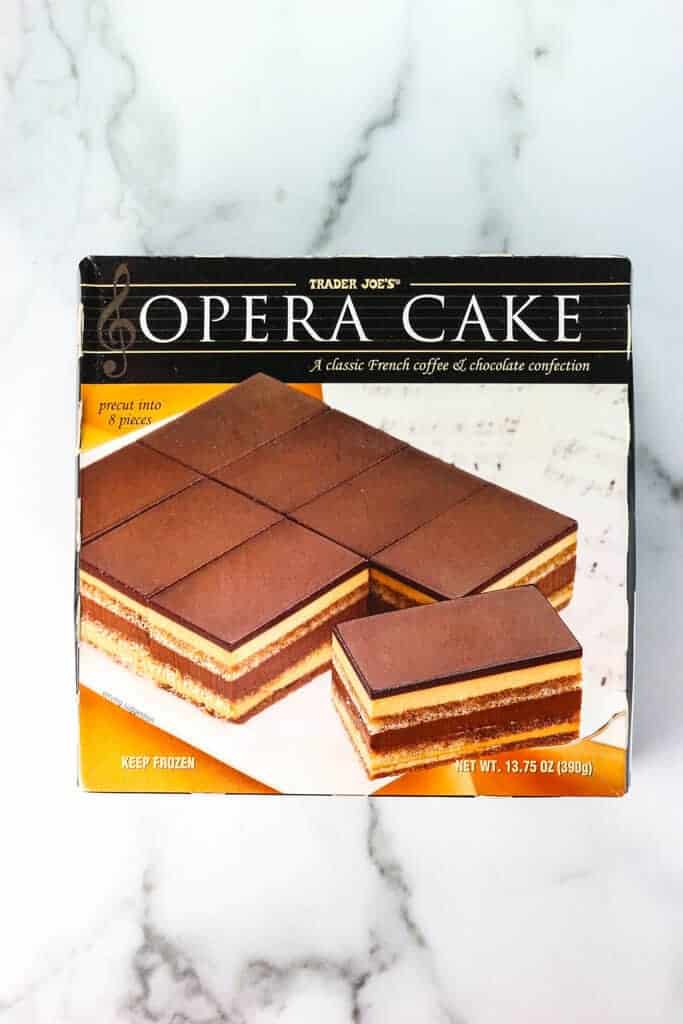 An unopened box of Trader Joe's Opera Cake