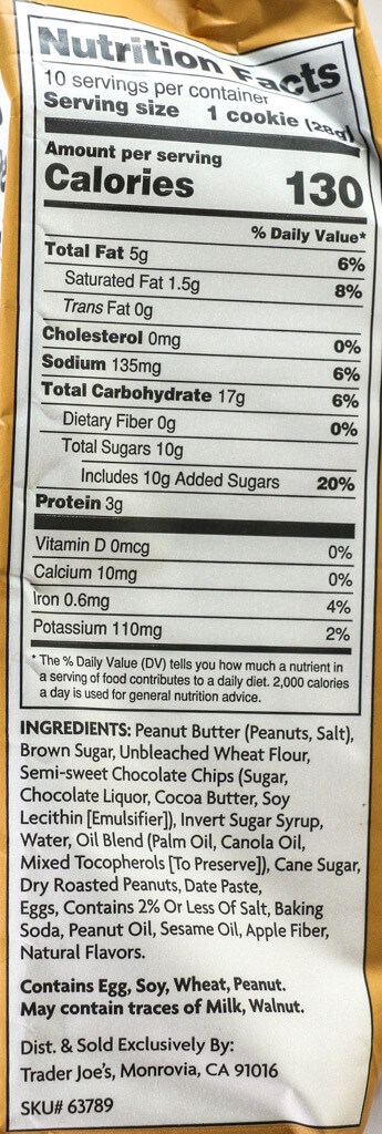 Calories, nutritional information and ingredient list for Trader Joe's Soft Baked Peanut Butter Chocolate Chip Cookies