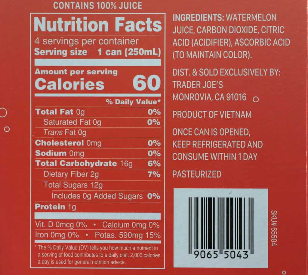 Calories, nutritional information, and ingredients in Trader Joe's Sparkling Watermelon Juice