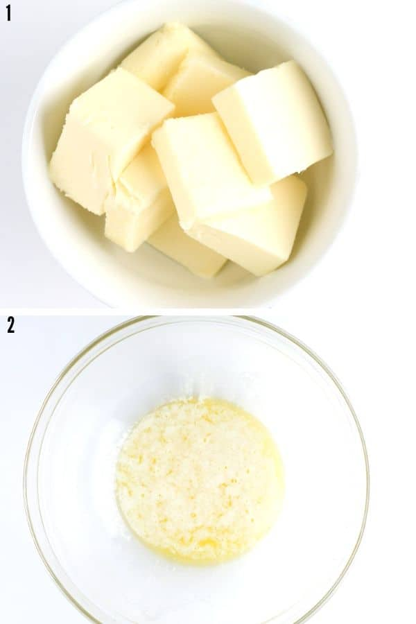 A collage showing the butter and what melted butter looks like