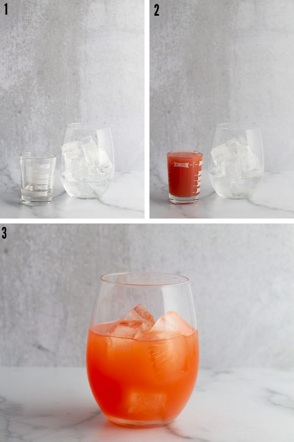 A collage showing the simple syrup, grapefruit juice being added to a cocktail glass with the final picture showing the combined drink before garnishing.