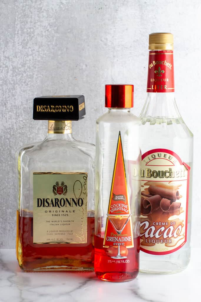 Grenandine, amaretto and creme de cocoa