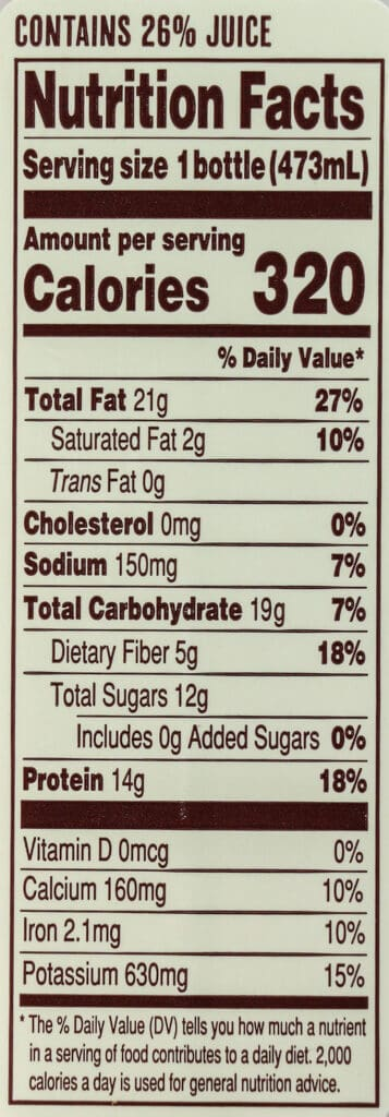Calories and nutritional information in Trader Joe's Banana and Almond Butter Protein Smoothie