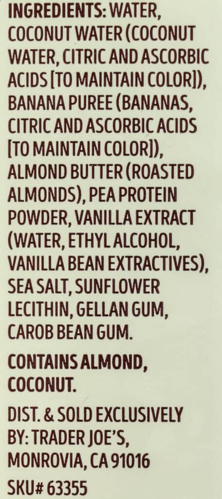 Ingredients list for Trader Joe's Banana and Almond Butter Protein Smoothie
