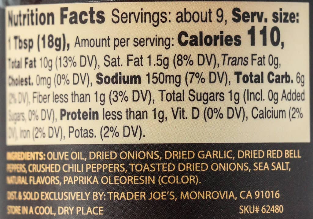 Nutritional information, calories, and ingredients in Trade Joe's Chili Onion Crunch