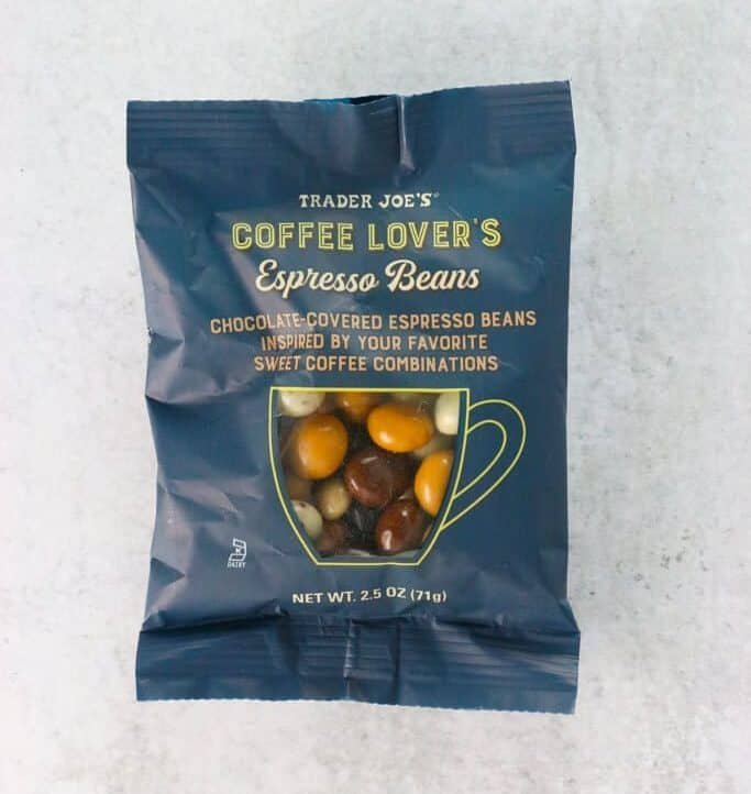 An unopened bag of Trader Joe's Coffee Lovers Espresso Beans