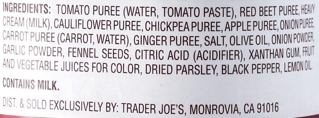 Ingredients in Trader Joe's Creamy Pink Primavera Pasta Sauce