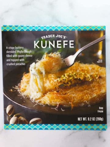 An unopened box of Trader Joe's Kunefe