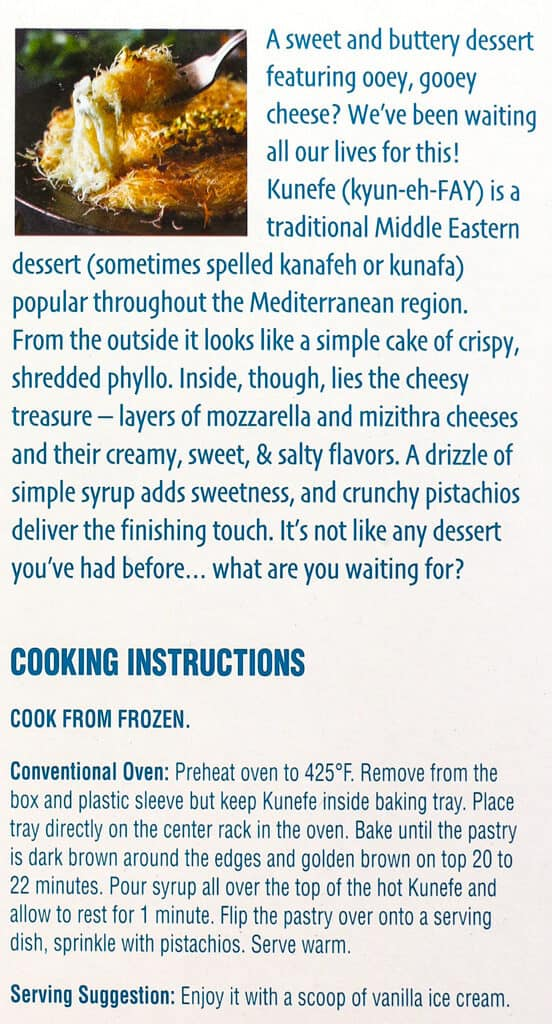 Description and cooking instructions for Trader Joe's Kunefe