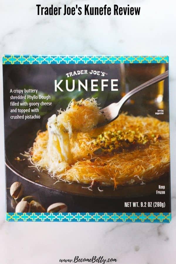 An unopened box of Trader Joe's Kunefe