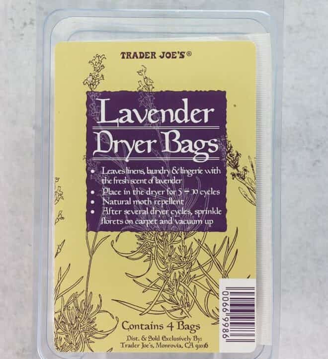 An unopened package of Trader Joe's Lavender Dryer Bags
