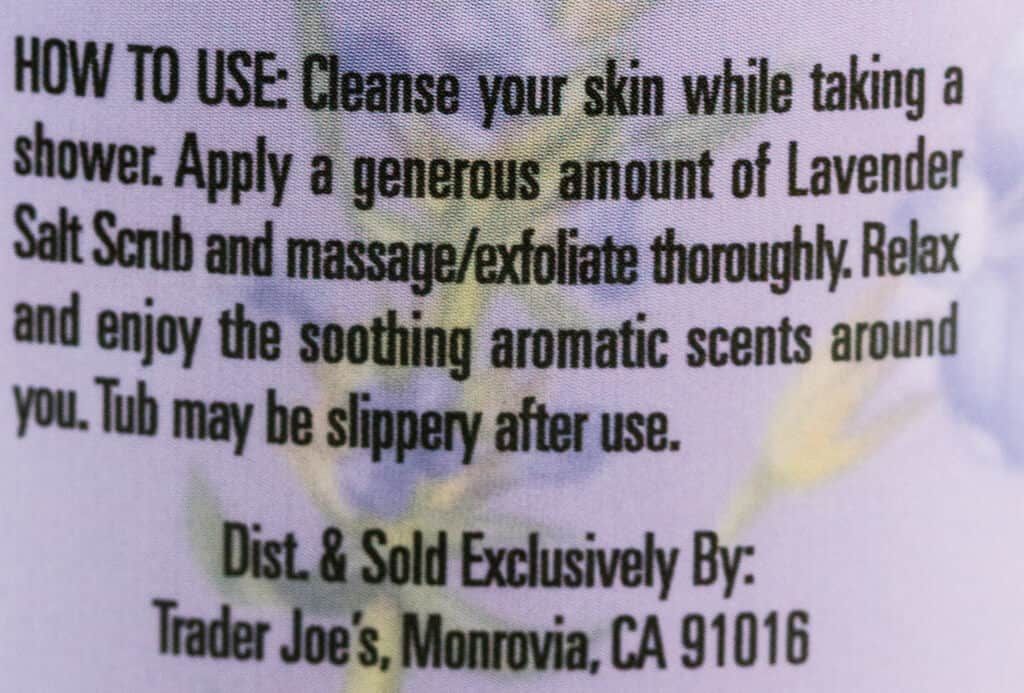 How to use instructions on the side of the Trader Joe's Lavender Salt Scrub jar