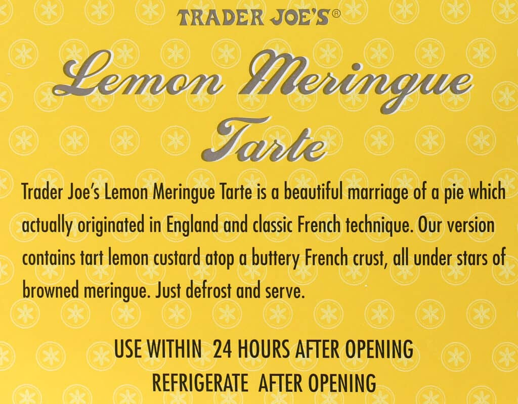 Product description on the box of Trader Joe's Lemon Meringue Tarte